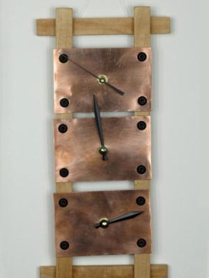 3 Clock Column - Copper